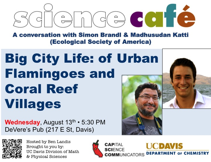 Davis Science Cafe Flier for August 13, 2014, featuring Simon Brandle and Madhusudan Katti
