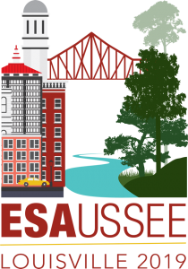 Annual Meeting graphic logo shows a city on the left and a bridge reaching to a clump of trees over a river on the right side. The Letters ESA 2019, USSEE, Louisville 2019 are printed below.