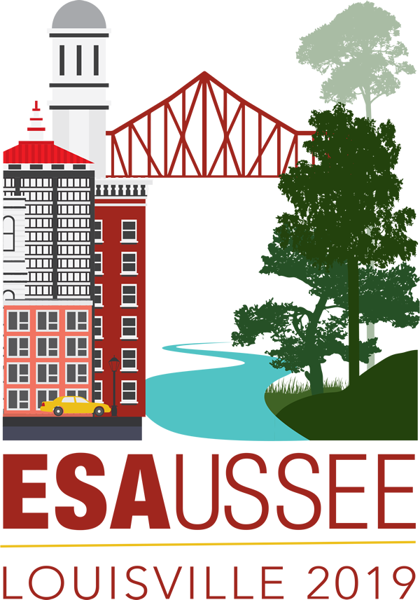 Annual Meeting vector logo shows a city on the left and a bridge reaching to a clump of trees over a river on the right side. The Letters ESA 2019 Louisville are printed below.