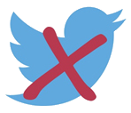 An image of the Twitter bird with a red strike through to represent no twitter.